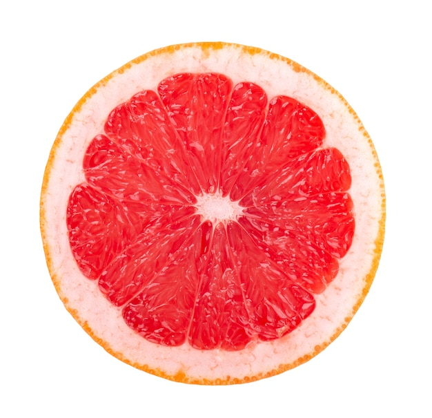 Grapefruit stuk geïsoleerd op een witte achtergrond. vers fruit. met uitknippad. grapefruit schijfje. bovenaanzicht.