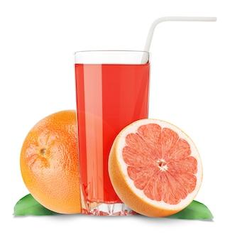 Grapefruitsap en plakjes sinaasappel geïsoleerd