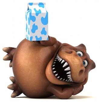 Grappig 3d dinosauruskarakter dat een melkpak houdt