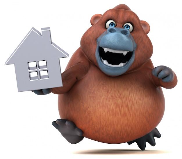 Grappig 3d gorilla karakter met een huisje
