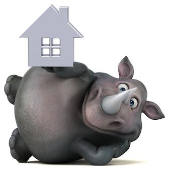Grappig 3d neushoornkarakter dat een huispictogram houdt