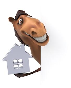 Grappig 3d paardkarakter dat een huispictogram houdt