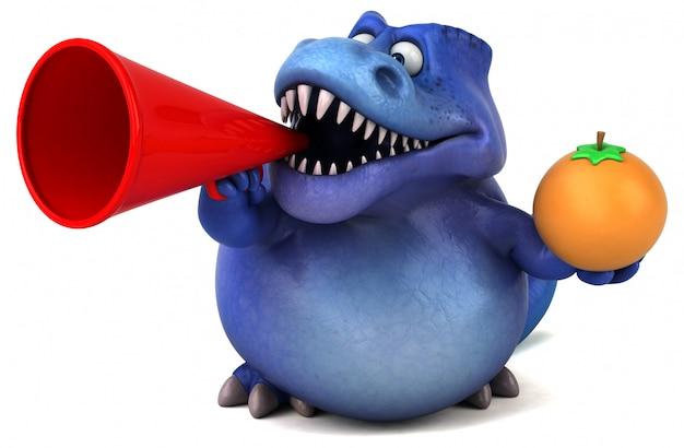Grappig 3d paars dinosauruskarakter dat een sinaasappel houdt en in een megafoon spreekt