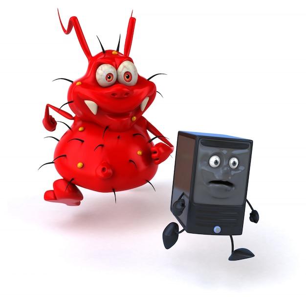 Grappig geïllustreerd virus achter een pc-eenheid