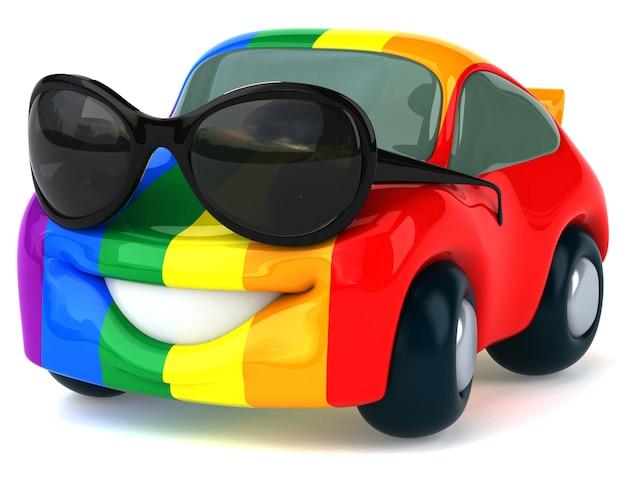 Grappig geïllustreerde auto geschilderd in regenboogkleuren met zonnebril