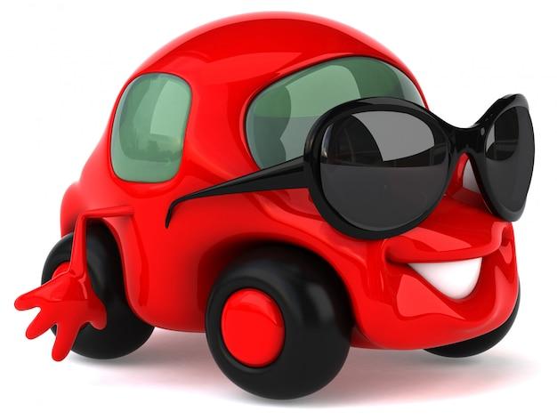 Grappig geïllustreerde auto met zonnebril