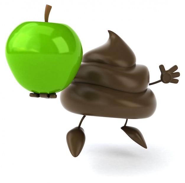Grappig geïllustreerde kak die een appel houdt