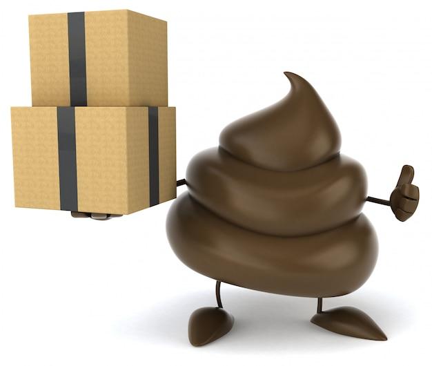 Grappig geïllustreerde kak met een stapel dozen