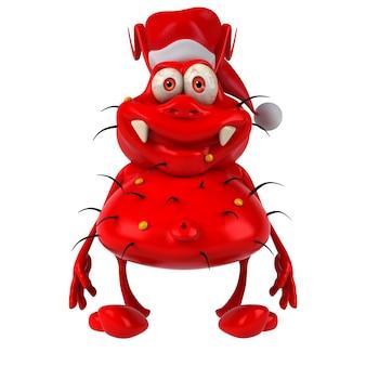 Grappig geïllustreerde kiem die de hoed van de kerstman draagt