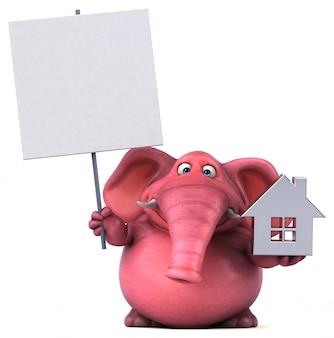 Grappig geïllustreerde roze olifant die een huissymbool en een aanplakbiljet houdt