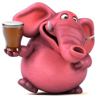 Grappig geïllustreerde roze olifant met een glas bier