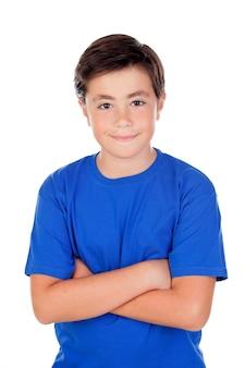 Grappig kind met tien jaar oud en blauw t-shirt