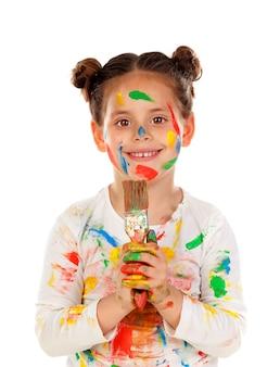 Grappig meisje met handen en gezichtshoogtepunt van verf op een witte achtergrond wordt geïsoleerd die