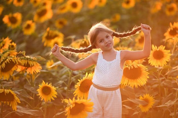 Grappig stout meisje met twee staartjes. beul op een veld met zonnebloemen bij zonsondergang.