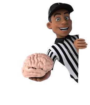 Grappige 3d-afbeelding van een amerikaanse scheidsrechter