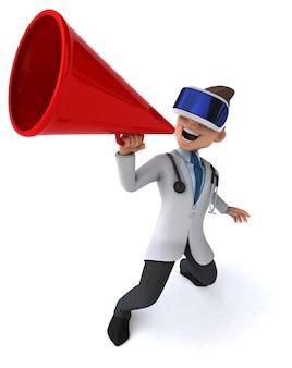Grappige 3d-afbeelding van een arts met een vr-helm