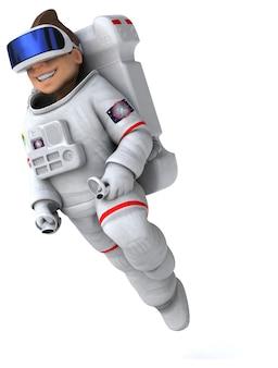 Grappige 3d-afbeelding van een astronaut met een vr-helm Premium Foto