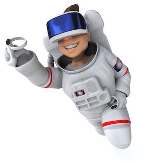 Grappige 3d-afbeelding van een astronaut met een vr-helm