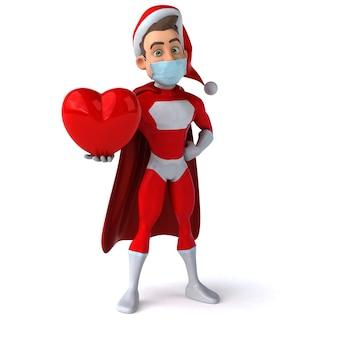 Grappige 3d-afbeelding van een cartoon kerstman met een masker