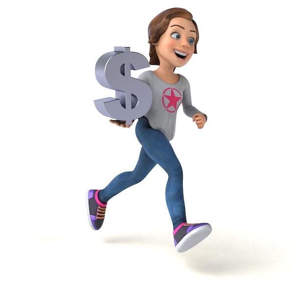 Grappige 3d-afbeelding van een cartoon tienermeisje