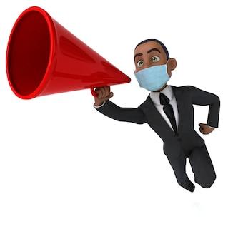 Grappige 3d-afbeelding van een zwarte zakenman met een masker