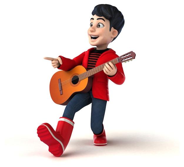 Grappige 3d cartoon tiener met gitaar