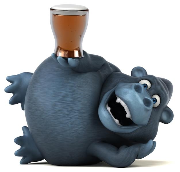 Grappige 3d gorilla met glas bier