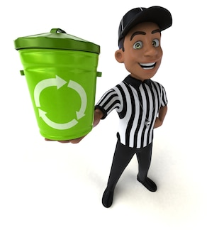 Grappige 3d illustratie van een amerikaanse scheidsrechter met vuilnisbak