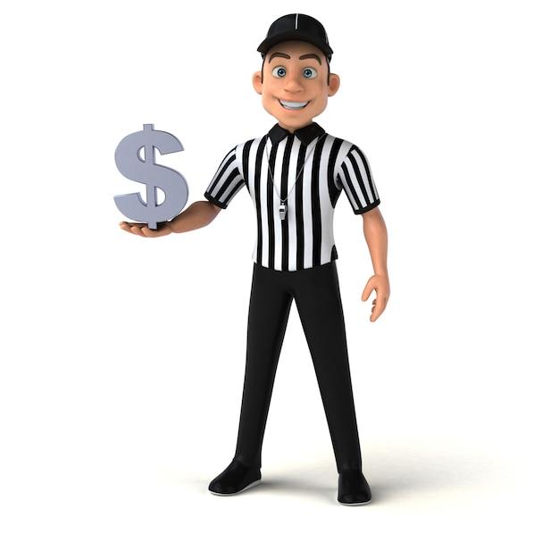 Grappige 3d illustratie van een amerikaanse scheidsrechter