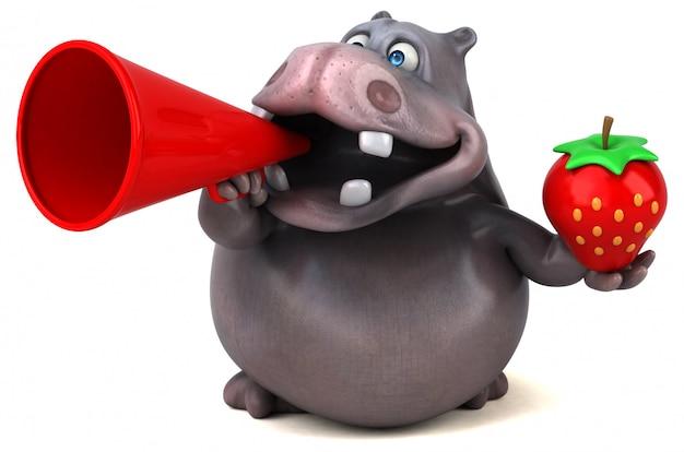 Grappige 3d nijlpaard met een megafoon en een aardbei