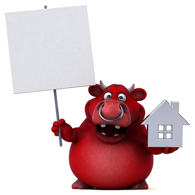 Grappige 3d rode stier die een huispictogram en een aanplakbiljet houdt