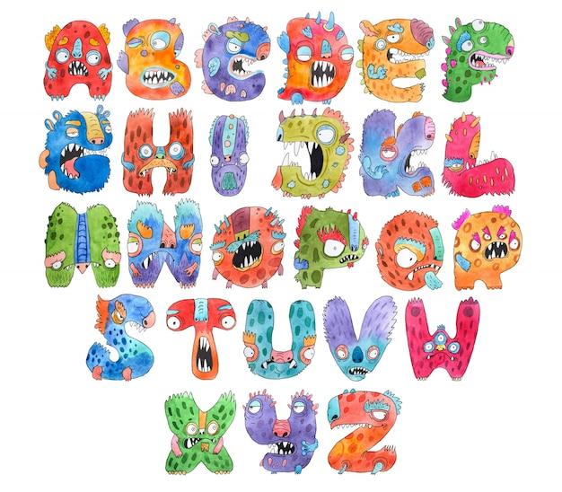 Grappige aquarel cartoon engelse alfabet met monsters