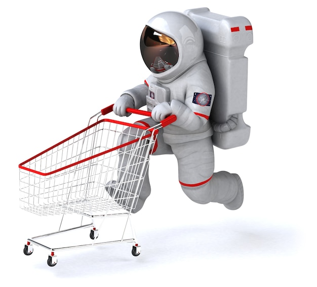 Grappige astronaut 3d illustratie