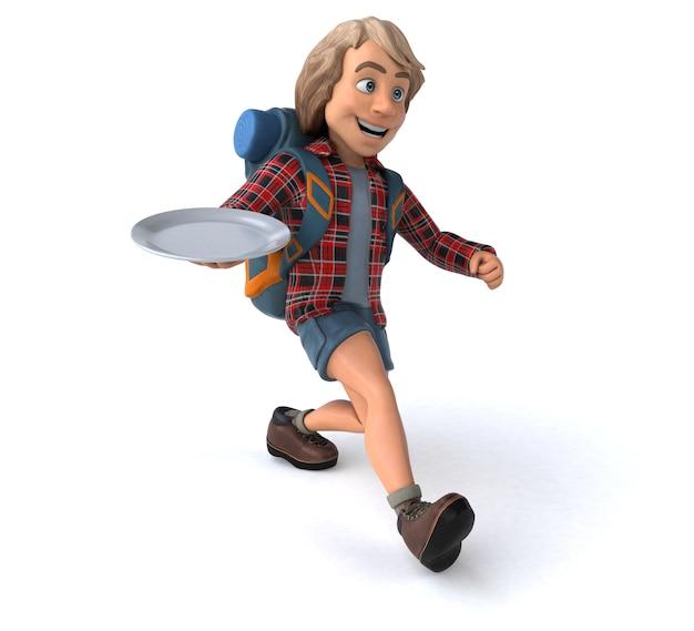 Grappige backpacker cartoon man