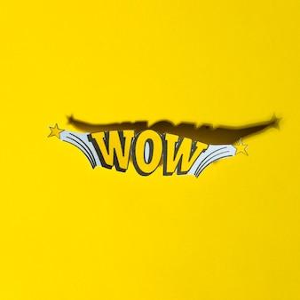 Grappige belettering wauw in retro pop-art stijl met schaduw