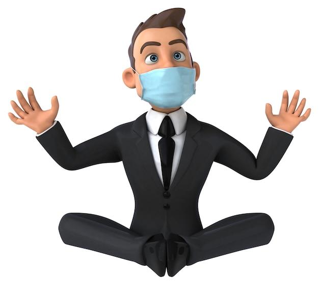 Grappige cartoon zakenman karakter met een masker