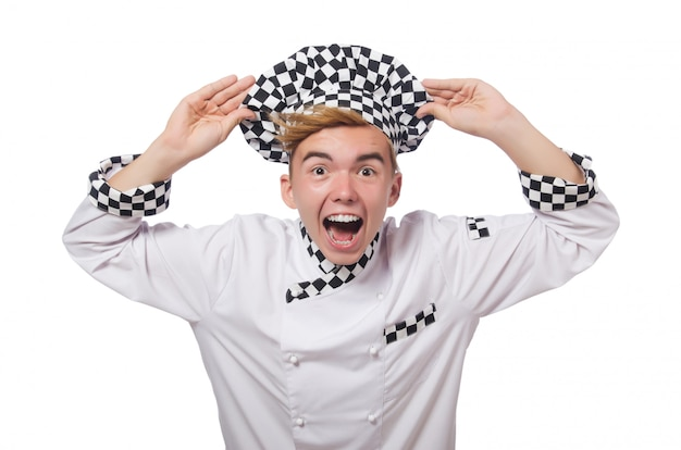 Grappige die kok op wit wordt geïsoleerd