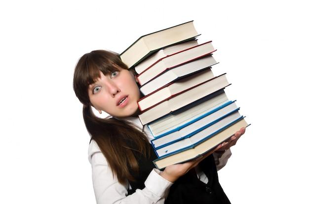 Grappige die nerdstudent op wit wordt geïsoleerd