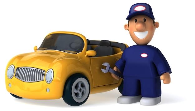 Grappige geïllustreerde monteur man en een auto