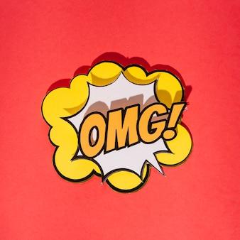 Grappige geluidseffecten omg-tekst in pop-artstijl op rode achtergrond