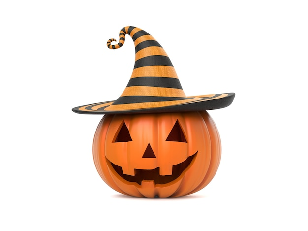 Grappige halloween-pompoen met hoed