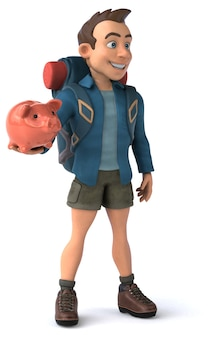 Grappige illustratie van een 3d cartoon backpacker