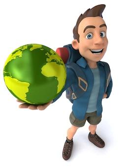 Grappige illustratie van een 3d cartoon backpacker