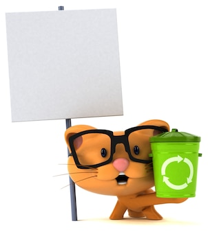 Grappige kat 3d illustratie met vuilnisbak en aanplakbiljet