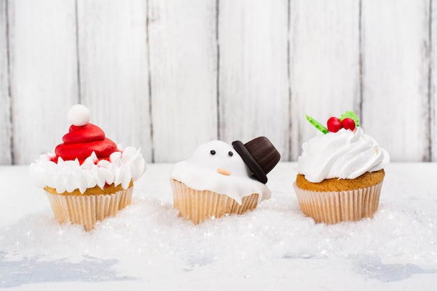 Grappige kerst cup cakes