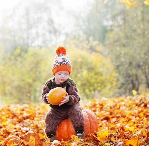 Grappige kleine jongen met oranje pompoen in de herfstpark