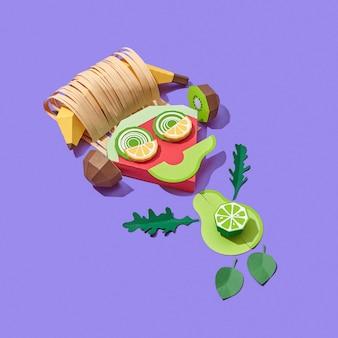 Grappige kleine man handgemaakt van kleurrijke papercraft groenten en fruit luisteren naar muziek op een paarse achtergrond met schaduwen, kopieer ruimte. veganistisch gezond eten.