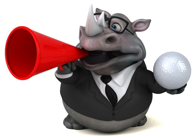 Grappige neushoorn 3d illustratie