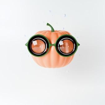Grappige oranje cartoon pompoen hoofd in ronde modieuze bril, karakter concept op het thema van de vakantie helloween, 3d illustratie, render