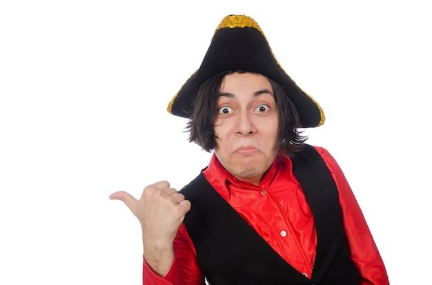 Grappige piraat die op het wit wordt geïsoleerd